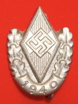 WWII GERMAN  HJ JUGENDFEST SPORTS AWARD PIN 1940