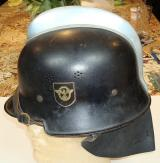 WWII GERMAN FIRE POLICE HELMET WITH COMB.NECK FLAP