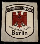 WWII GERMAN BERLIN UNIVERSITY SPORTS PATCH