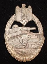 WWII GERMAN PANZER ASSAULT BADGE, BRONZE