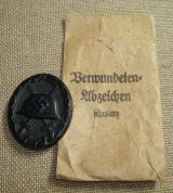 WWII GERMAN BLACK WOUND BADGE WITH PACKET
