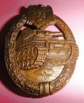 WWII GERMAN BRONZE PANZER ASSAULT BADGE