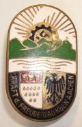 WWII GERMAN DAF KDF GAU KOLN AACHEN MEMBERS BADGE